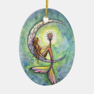 Mermaid and the Moon Fantasy Art Christmas Ornament