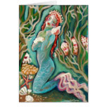 Mermaid and The Sea Shell Blank Greeting Card