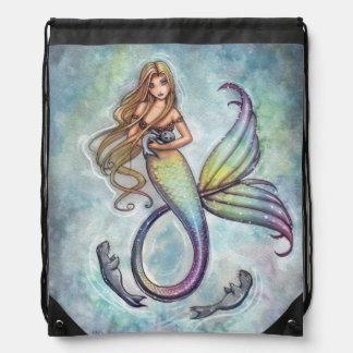 Mermaid and the Seals Mermaid Fantasy Art Backpack