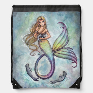 Mermaid and the Seals Mermaid Fantasy Art Drawstring Bag