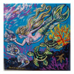 mermaid and turtle poster