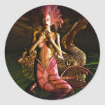 Mermaid and Water Dragon Round Stickers