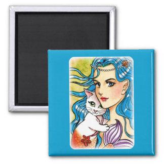Mermaid and white mercat square magnet