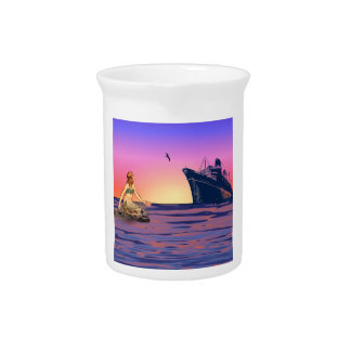 Mermaid at sunset pitcher