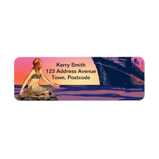 Mermaid at sunset return address label