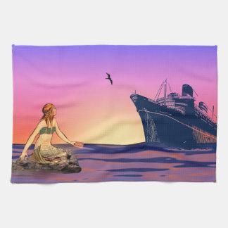 Mermaid at sunset tea towel