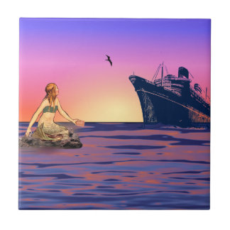 Mermaid at sunset tile