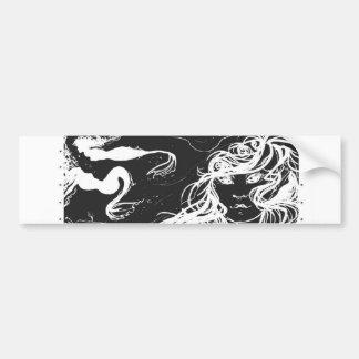 Mermaid  b/w bumper sticker