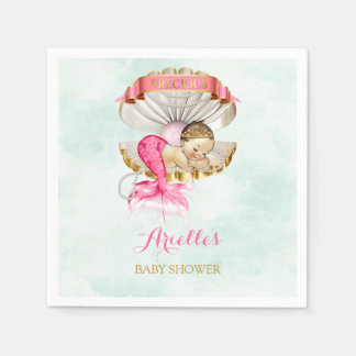 Mermaid Baby Clam Shell Tiara Pearls Pink Gold Disposable Napkin