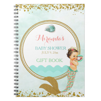 Mermaid Baby Girl Peach Mint Gold Coral Aqua Notebooks