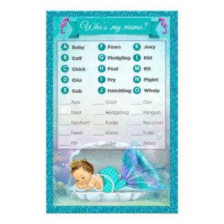 Mermaid Baby Shower Animal Match Game #130 14 Cm X 21.5 Cm Flyer