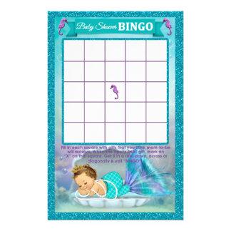 Mermaid Baby Shower Bingo Game Card #130 14 Cm X 21.5 Cm Flyer