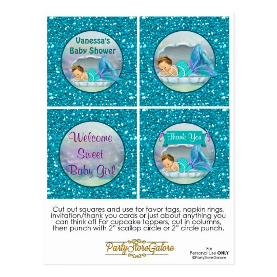 Mermaid Baby Shower Cupcake Topper Favour Tags 130