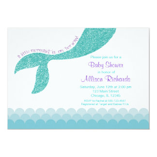 Mermaid baby shower invitation, teal aqua purple card