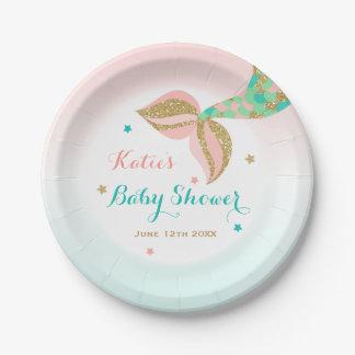 """Mermaid Baby Shower Paper Plate 7"""" Mermaid Shower"""