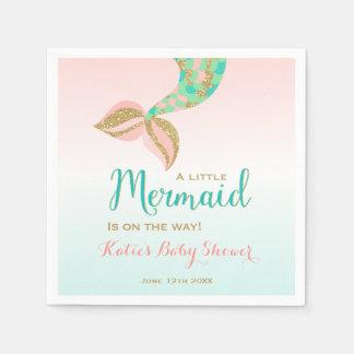 Mermaid Baby Shower Party Napkin Whimsical Mermaid Disposable Napkins