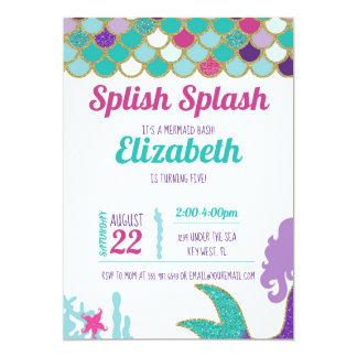 Mermaid Bash Birthday Invitation Teal Gold Purple
