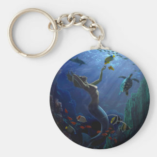 Mermaid Basic Round Button Key Ring