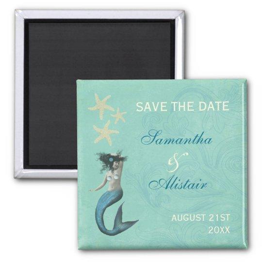 Mermaid Beach Coastal Save The Date Magnet