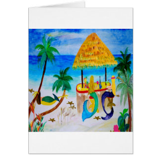 Mermaid Beach Tiki Bar Art Card