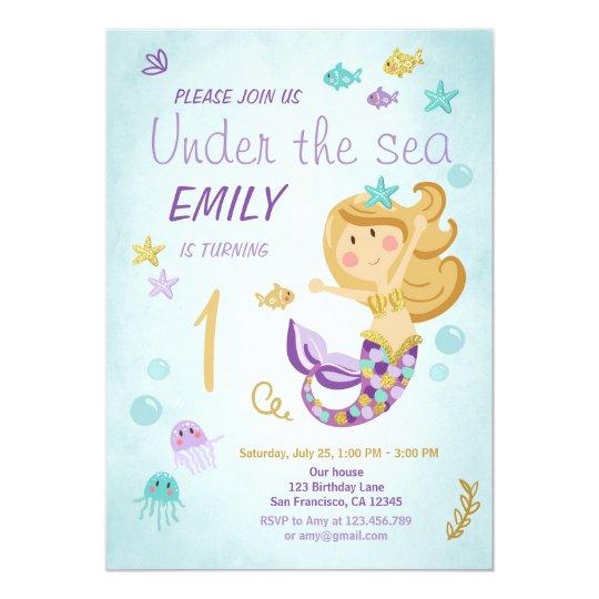 Mermaid Birthday Invitation Under the Sea Purple
