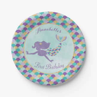 Mermaid Birthday Paper Plates 7 Inch Paper Plate
