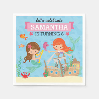 Mermaid Birthday Party Disposable Napkin