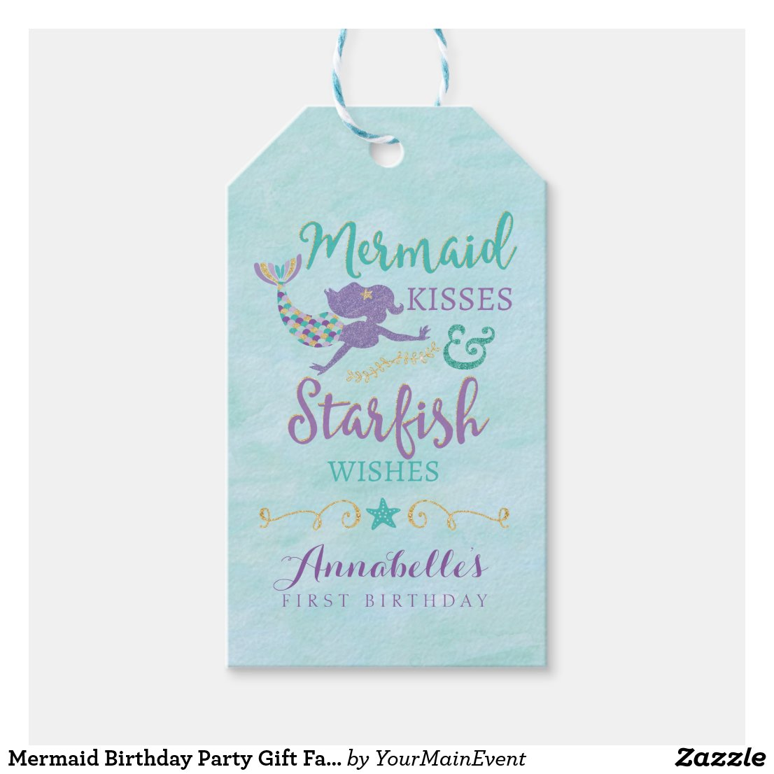 Mermaid Birthday Party Gift Favour Tags