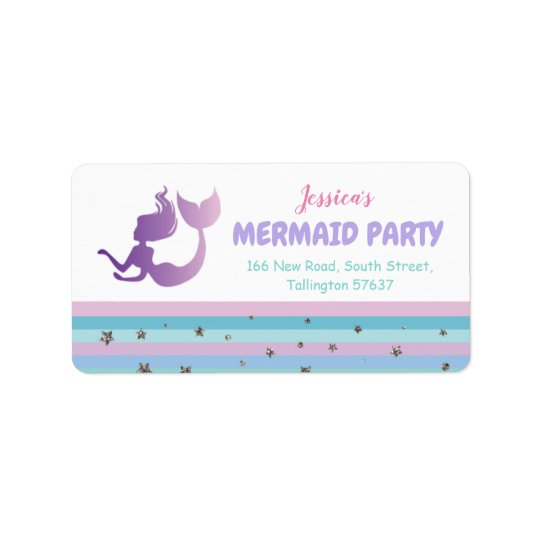 Mermaid Birthday Party Gold Glitter Address Labels
