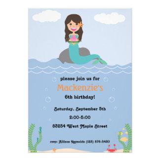 Mermaid Birthday Party Invitation - Med Dark