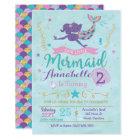 Mermaid Birthday Party Invitation Purple Pink Gold