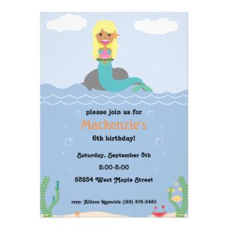 Mermaid Birthday Party Invitation - Tan Blonde