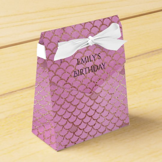 Mermaid Birthday Party Personalised Pink Gold Favour Box