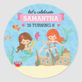 Mermaid Birthday Round Sticker