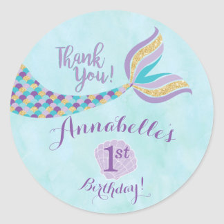 Mermaid Birthday Round Stickers | Party Favor
