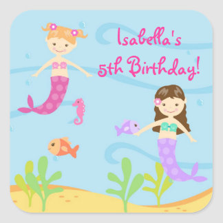 Mermaid Birthtday Party Favour Stickers Labels Kid