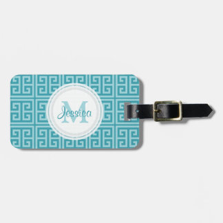 Mermaid Blue Greek Key Pattern Luggage Tag