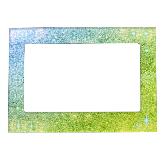 Mermaid Blue Green Glitter Sparkle Faux Sea Picture Frame Magnet