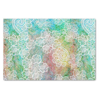 Mermaid Blue Green Pink Lace Pattern Tissue Paper