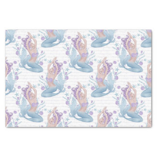 Mermaid blue lavender starfish ocean shells tissue paper