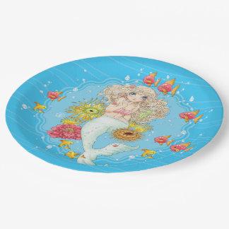 Mermaid (blue) paper plate