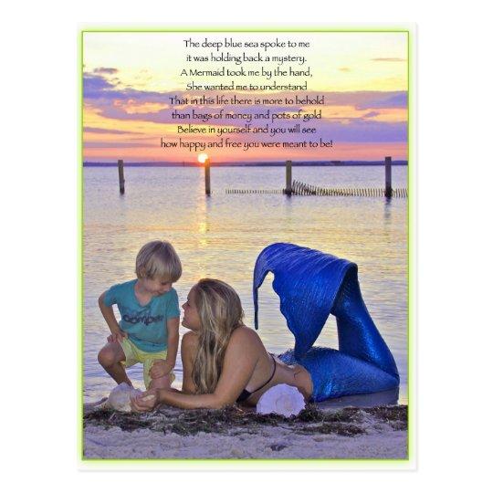 Mermaid & Boy at the Beach Postcard