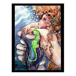 Mermaid & Bright Green SeaHorse Postcard