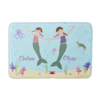 Mermaid Brown Hair Sisters Personalized Bath Mat