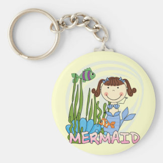 Mermaid - Brunette Tshirts and Gifts Basic Round Button Key Ring