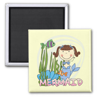 Mermaid - Brunette Tshirts and Gifts Square Magnet