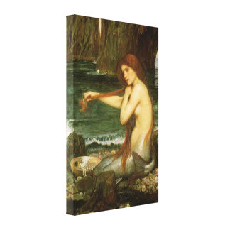 Mermaid by JW Waterhouse, Victorian Mythology Art Gallery Wrapped Canvas
