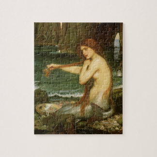 Mermaid by JW Waterhouse, Victorian Mythology Art Jigsaw Puzzle