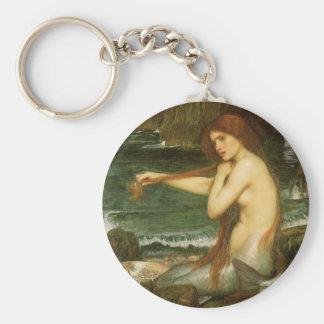Mermaid by JW Waterhouse, Victorian Mythology Art Key Ring