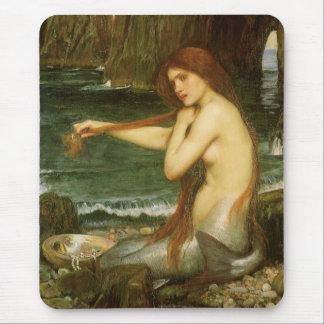 Mermaid by JW Waterhouse, Victorian Mythology Art Mouse Mat